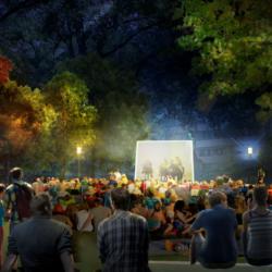 Franklin Park Renewal Render - Night Outdoor Movies
