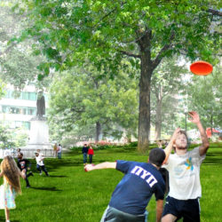 Franklin Park Renewal Render - Playing Frisbee